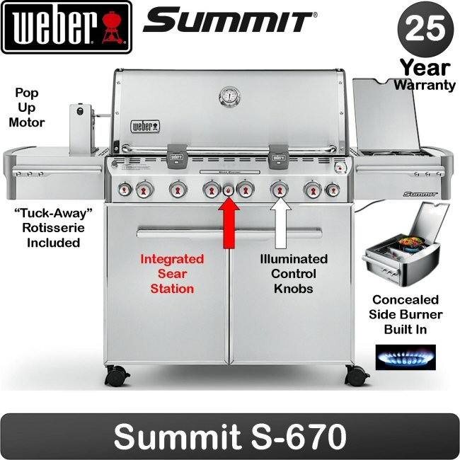 weber gas grill summit 6 ss burners s670 kitchenwarehub. Black Bedroom Furniture Sets. Home Design Ideas