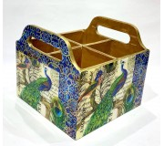Cutlery holder Wooden - Peacock