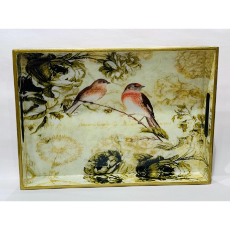 Tray  Wooden Glazed - Birds