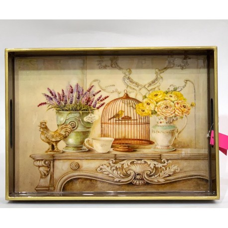 Tray  Wooden Glazed - Birds-Cage