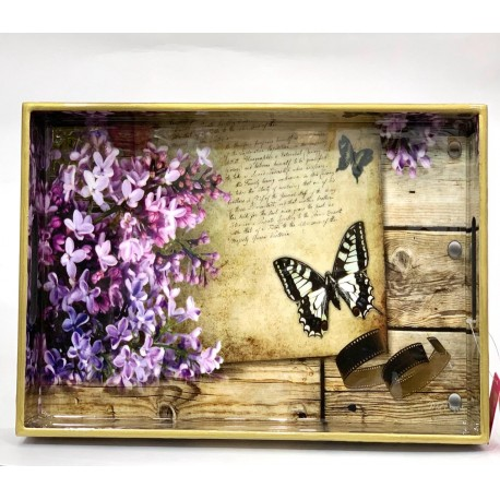 Tray  Wooden Glazed - Butterfly