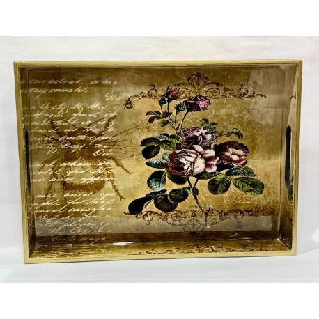Tray  Wooden Glazed - Flower