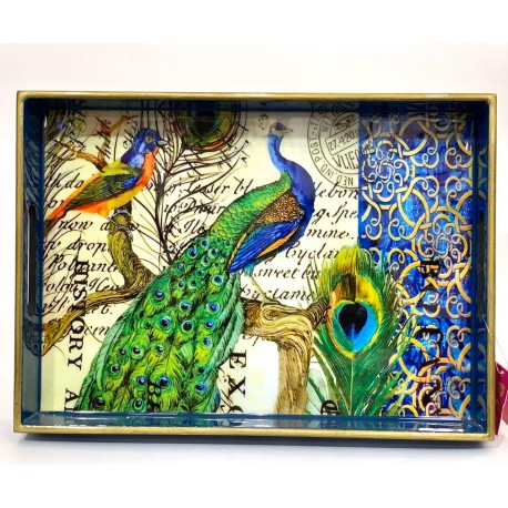 Tray  Wooden Glazed - Peacock