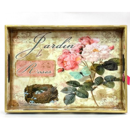 Tray  Wooden Glazed - Roses