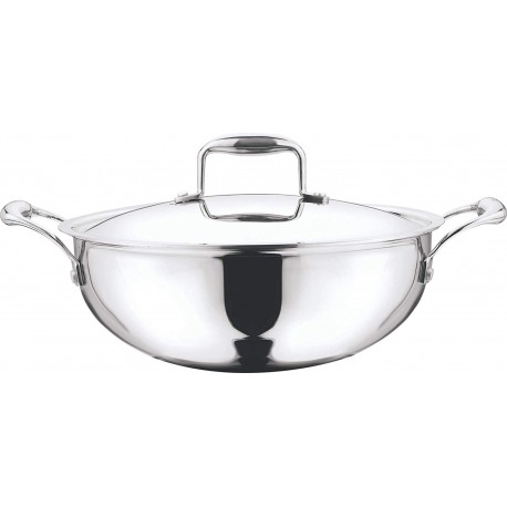 Vinod Platinum Extra Deep Kadai 18cm(With Lid/Induction-Friendly)
