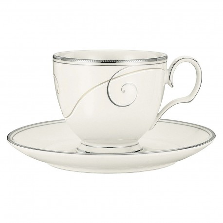 Noritake Cup Saucer Set of 6 (Platinum Wave)