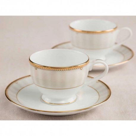 Noritake Cup & Saucer Set of 12Pcs, 215ml(Monarch Platinum)
