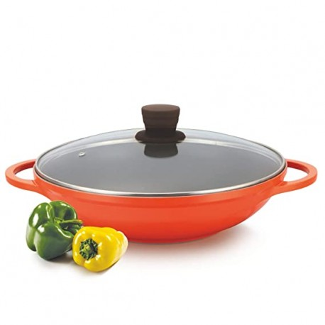 Alda Diecast Ceramic Wok Pan 32cm, With Glass Lid