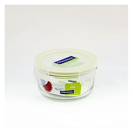 Glasslock Tempered Food Container 400ml, Round (Pack of 2)
