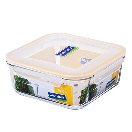 Glasslock Tempered Food Container 2600ml - Square