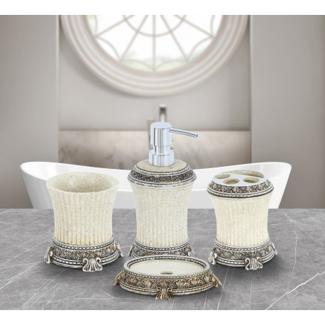 Obsessions Alvina Bathroom Set - 2813 Sandstone with silver