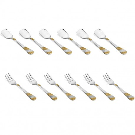 fnS Ice Cream Spoon and Fruit Fork Imperio Combo Set of 12pc
