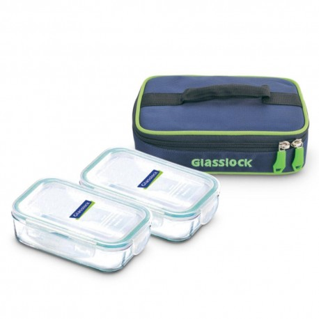 Glasslock Tempered Lunch Set Rect 2Pcs (400ml)