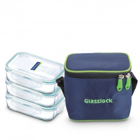 Glasslock Tempered Lunch Set Rect 3Pcs (400ml)