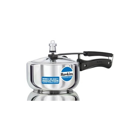 Hawkins Pressure Cooker Stainless Steel 2 litre (Induction Compatible)
