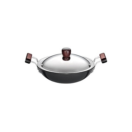 Futura Hard Anodised Deep Fry Pan With SS lid 2.75 L  ( Kadhai )