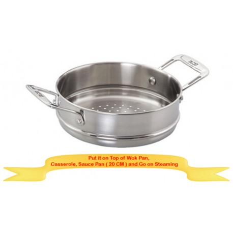Alda Triply Stainless Steel Steamer Attachment 20 Cm