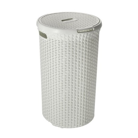 Curver Round Hamper Vintage White Rattan Style (48 Litre) - 00710