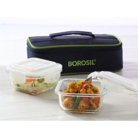 Borosil Klip-n-Store Square Set Of 2