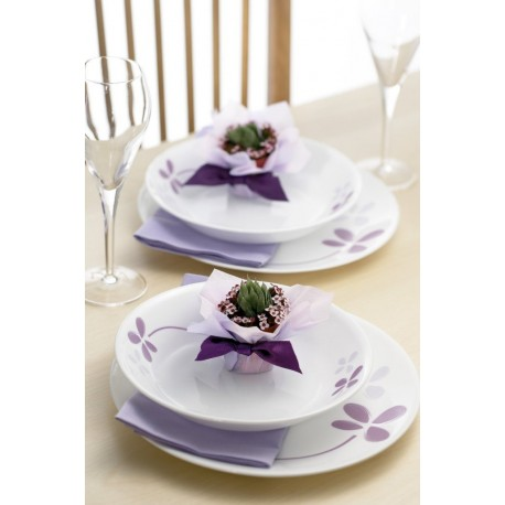 Corelle Round Dinner Set Warm Pansies 21 Pcs