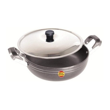 Black Diamond Non Stick Kadhai With Stainless Steel Lid 24.5cm