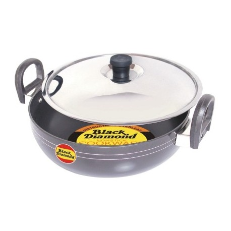 Black Diamond Non Stick Kadai With Stainless Steel Lid 27cm