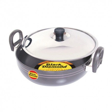 Black Diamond Non Stick Kadai With Stainless Steel Lid - K14 (295mm)