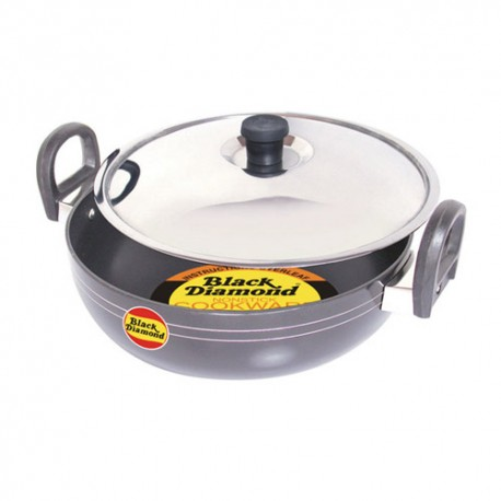 Black Diamond Non Stick Kadai With Stainless Steel Lid - K16 (340mm)