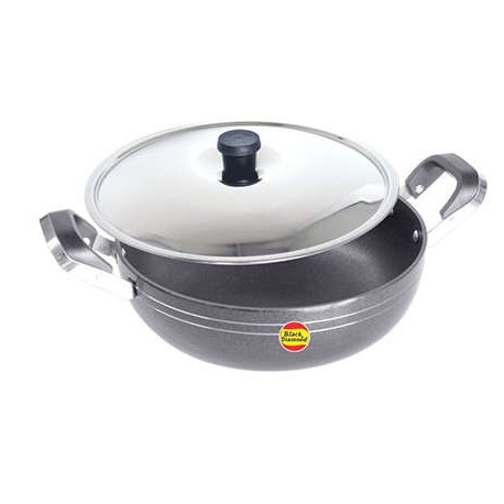 Black Diamond Non Stick Kadai With Stainless Steel Lid - K6 (215mm)