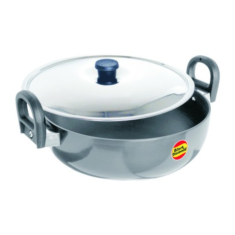 Black Diamond Hard Anodized Kadai Jumbo With Stainless Steel - 295mm (5.0 Litre)