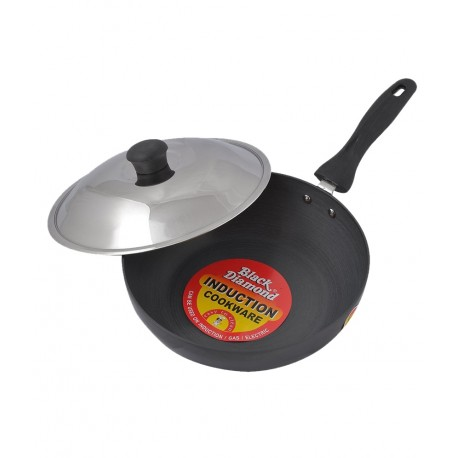 Black Diamond Induction Base Hard Anodized Curry Pan  With Stainless Steel