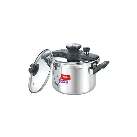 Prestige Clip On Pressure Cooker Stainless Steel Universal Lid And Glass Lid 5.0 Litre