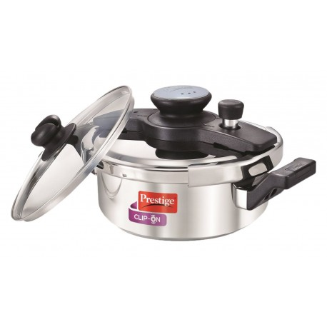 Prestige Pressure Cooker ClipOn Stainless Steel 3.0 Litre Wide