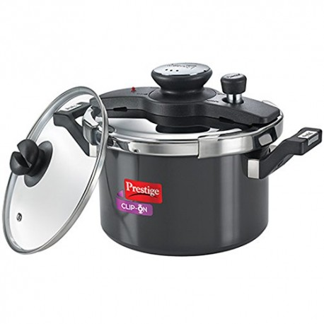 Prestige Clip On Pressure Cooker Aluminium Universal Lid And Glass Lid 5.0 Litre (Charcoal Black)
