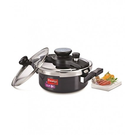 Prestige Clip On Pressure Cooker Aluminium Universal Lid And Glass Lid 3.0 Litre (Charcoal Black)
