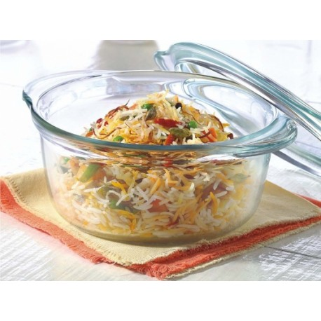 Borosil Deep Round Casserole With Flat Lid 2.5L
