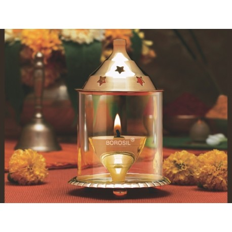 Borosil Akhand Diya Brass Set Of 2,(Medium)