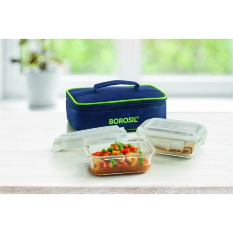 Borosil Klip N Store Lunch Box Rectangular Set of 2