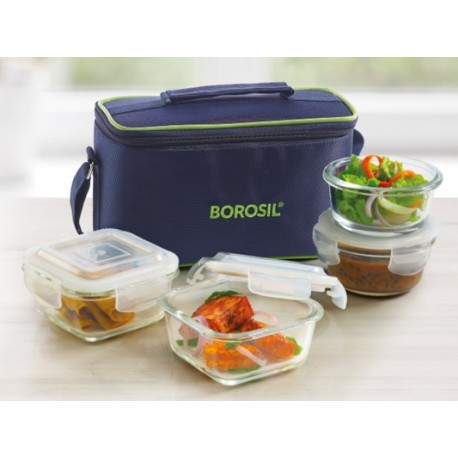 Borosil Klip n Store Lunch Box Set of 4