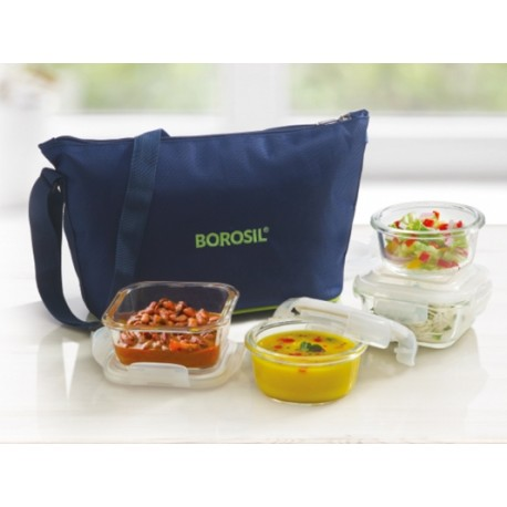 Borosil Klip n Store Lunch Box Set of 4 (Daisy)