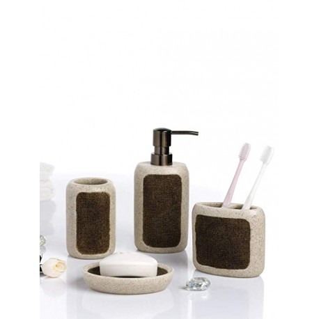 Obsessions Bathroom Set Alvina - Sandstone with Brown