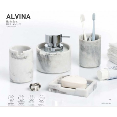 Obsessions Bathroom Set Alvina Round - White